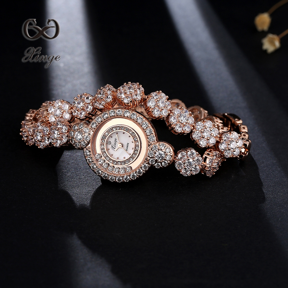 Xinge Brand Rose Gold Zircon Dress Watch Women Flowers Luxury Bracelet Ladies Clock Fashion Waterproof Quartz WristWatch XG1045 xinge brand watch women bracelet rhinestone chain bangles jewelry watch set wristwatch waterproof ladies gold quartz watch