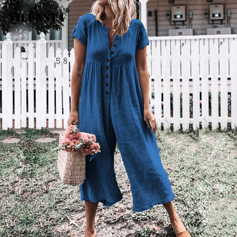 VIEUNSTA Linen Button Casual   Jumpsuit   Plus Size Summer Short Sleeve Women   Jumpsuits   2019 Ladies V-neck Wide Leg Trousers Rompers