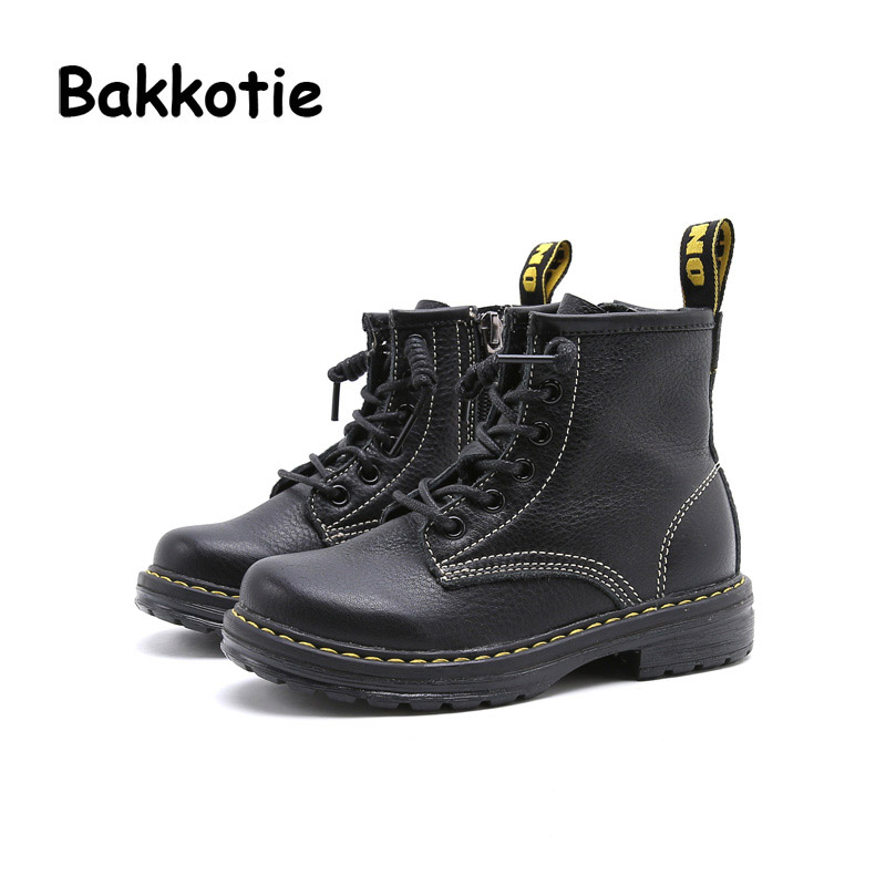 Bakkotie Autumn Fashion British Style Baby Girl Martin Boots Genuine Leather Ankle Child Boy Boots Kid Brand Toddler Shoe Brown bakkotie 2017 new autumn baby boy white shoes cat kid girl brand leisure sneaker gneuine leather breathable child soft trainer