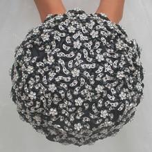 Luxury Diamonds Black Brides Wedding Bouquet Crystal Wedding Flowers Bridal Bouquets Ramos De Novia Buque De Noiva Azul