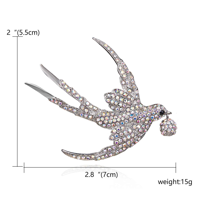 Rinhoo Warna Berlian Imitasi Swallow Bros untuk Wanita Indah Burung Hidup Hewan Bros Pin 2 Warna Tersedia Hadiah Yang Bagus