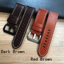 High Quality 24mm 26mm Italy Brown Cutting edge Genuine Leather Watchband Wristband For PAM Panerai 44mm 47mm Case Watch Strap