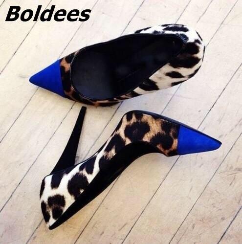 Стильный Royalblue соответствует зерна леопарда тонкий высокий каблук Насосы Для женщин пикантные острый носок Каблучки Awesome Обувь Лидер продаж