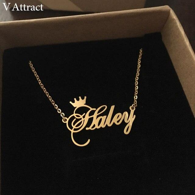 471897845c0d V atraer mejores amigos regalo personalizado nombre collar de las mujeres  joyería BFF personalizado cursiva corona