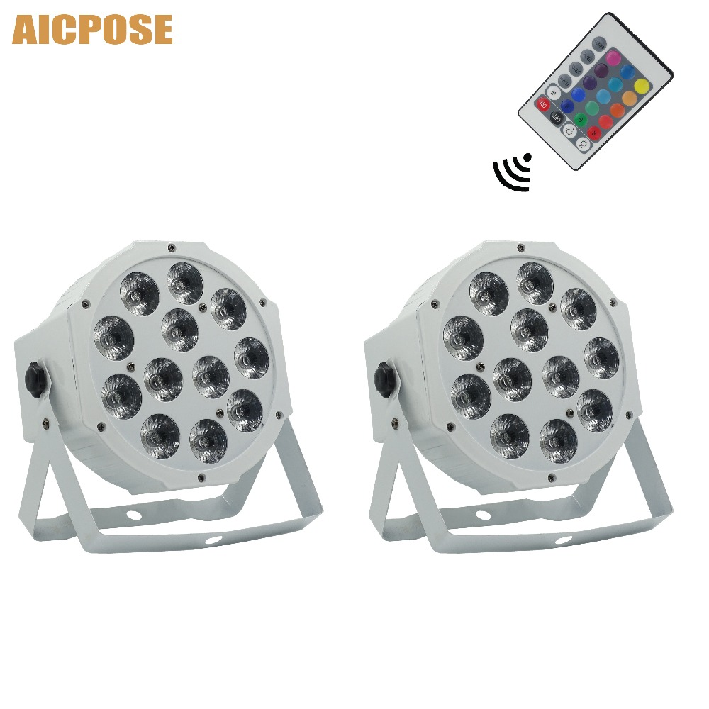 2pcs/lots 12x12w Flat Par Led With Remote Control White Led Par Light 12*12W RGBW 4in1 Disco DJ Bar Party Wedding Stage Light
