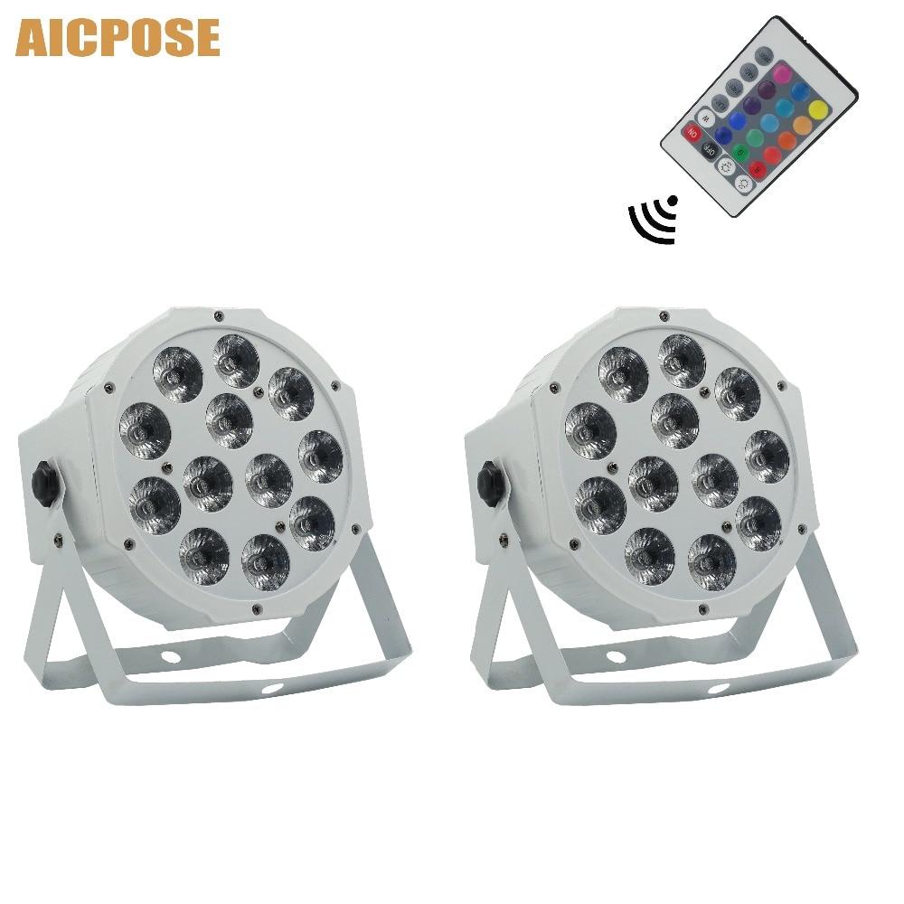2pcs/lots 12x12w Flat Par Led With Remote Control White Led Par Light 12*12W RGBW 4in1 Disco DJ Bar Party Wedding Stage Light