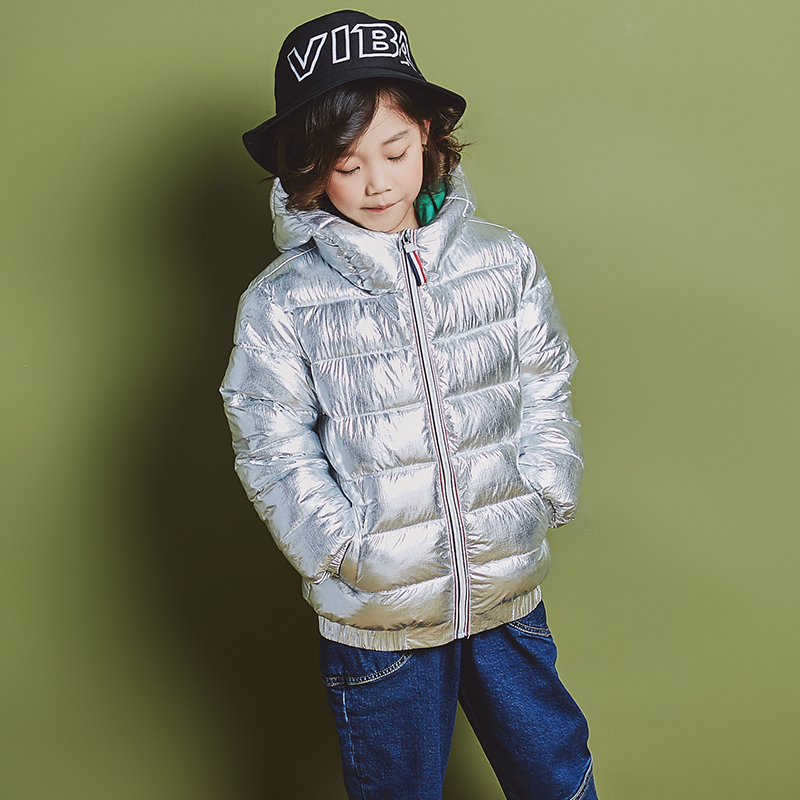YH-1858 Fashion Winter Cotton padded Coat Keep Warm Girl Jacket Child Unisex Silver Glossy Bread Hooded kids Parka Boy Outerwear fashion winter women jacket warm coat hooded women parka loose bread padded down cotton wadded short coats a3901