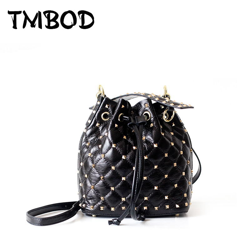 New 2018 Designer Small Drawstring Bucket with Studs Women Genuine Leather Handbags Ladies Messenger Bags For Female an1120 2017 new female genuine leather handbags first layer of cowhide fashion simple women shoulder messenger bags bucket bags