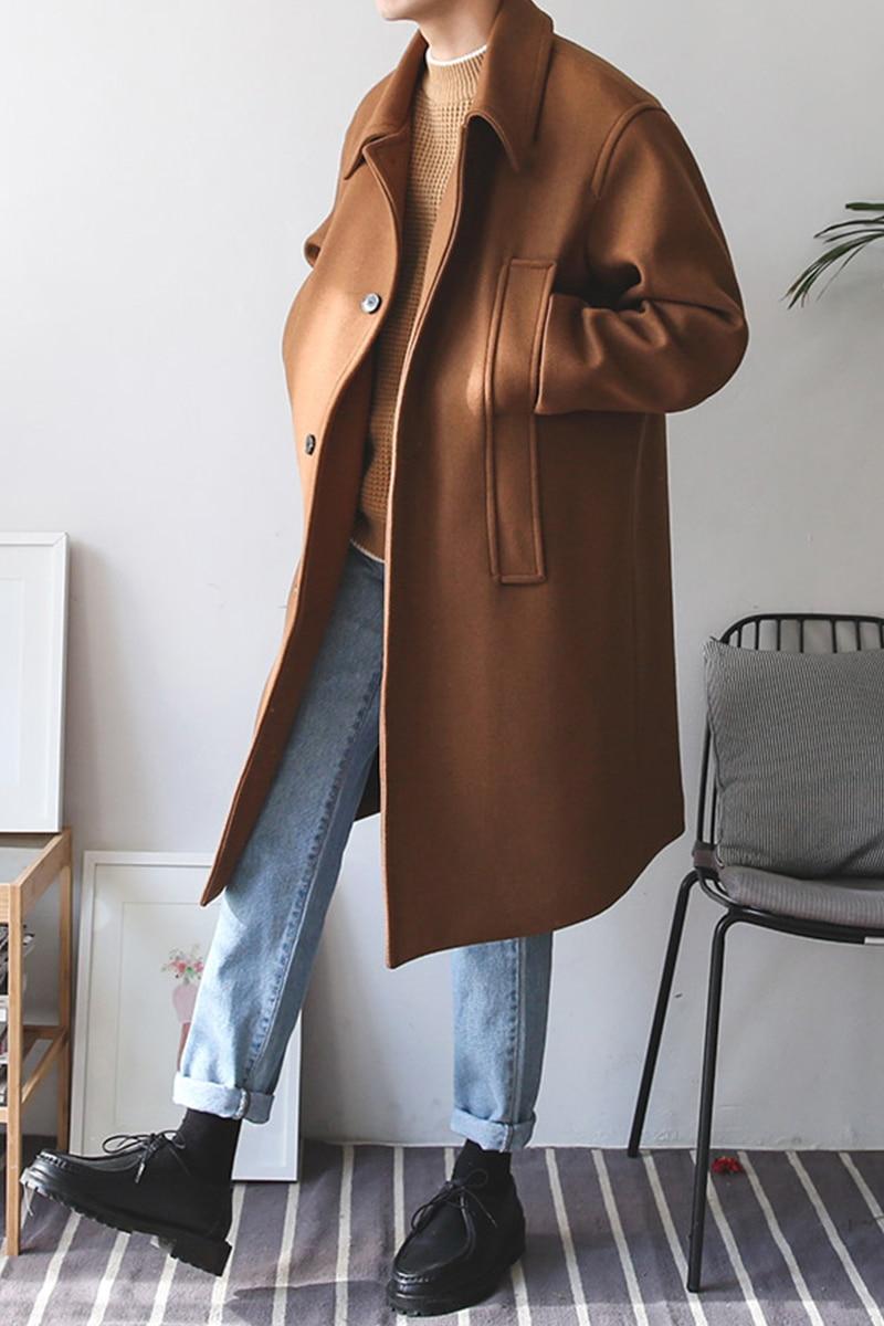 Autumn Winter Men Wool Trench Coat Male Long Overcoat Fashion Casual Loose Wool Trench Jacket Vintage Windbreaker Overcoat