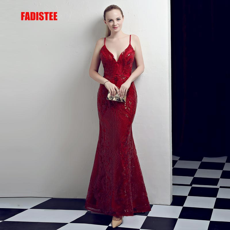 FADISTEE New arrival evening dresses prom party dress Vestido de Festa luxury pattern Burgundy sequins long