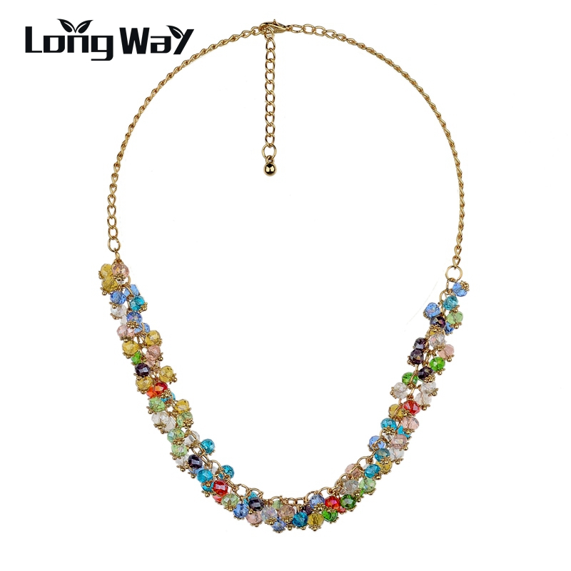 LongWay Hotting Sale Brand Necklace Gold Color Chain SWA Elements Austrian Crystal Beads Choker Necklaces & Pendants SNE140271
