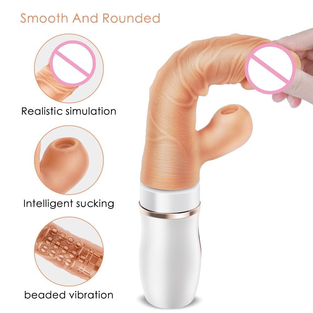 Corpo de aquecimento Grandes Vibradores Vibrador para As Mulheres Varinha Mágica Sugando Empurrando Massageador Brinquedo Do Sexo Para A Mulher Clitóris Estimular A Fêmea