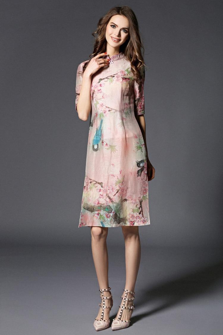 Free shipping summer original Chinese style flower birds print big size Improved Cheongsam slim dress for women