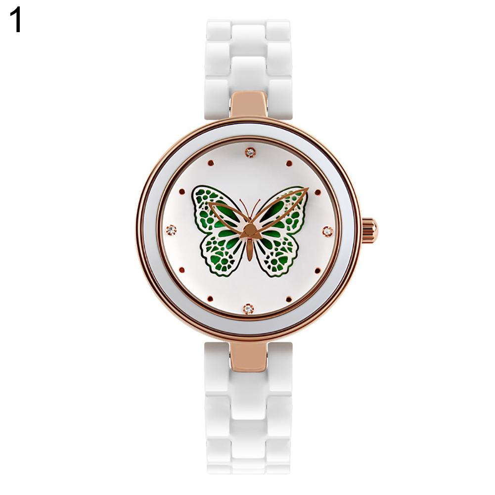 Fashion Women Ceramic Band Quartz Analog Butterfly/Dragonfly Wrist Watch Gift stylish bracelet zinc alloy band women s quartz analog wrist watch black 1 x 377