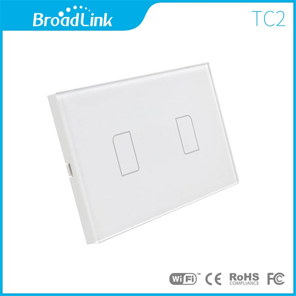 Broadlink US TC2 Wifi Touch Switch 2gang 110/220V for RM2 RM Pro Universal Remote Controller WIFI+IR+RF Wireless Control 433/315 broadlink us tc2 wifi touch switch 3gang 110 220v for rm2 rm pro universal remote controller wifi ir rf wireless control 433 315