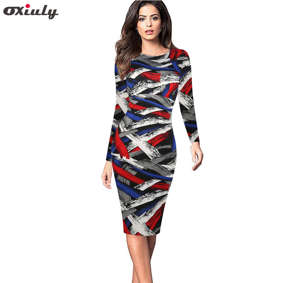 a811120abf357 US $18.99 |Oxiuly Women Vintage Plaid Print Long Sleeve Knee Length Casual  Office Ladies Wear Stretchy Bodycon Pencil Dresses-in Dresses from Women's  ...
