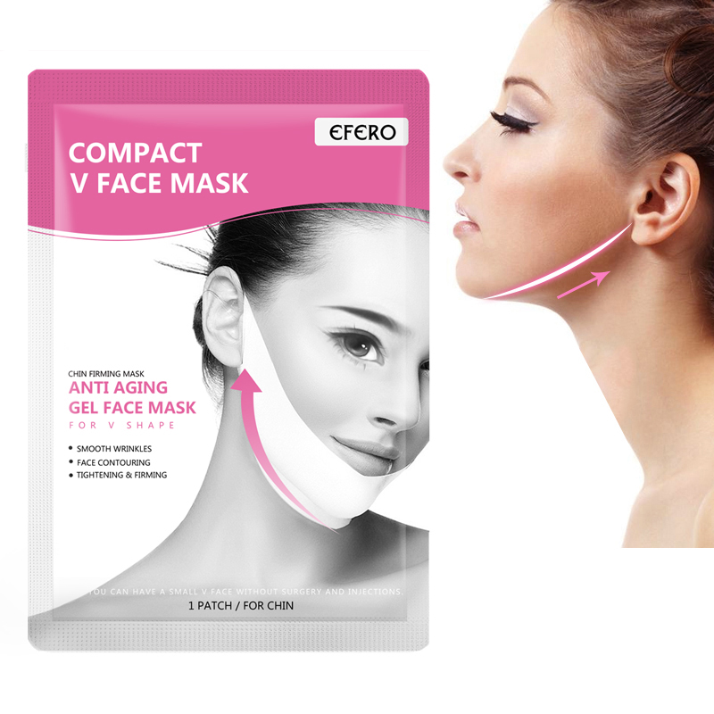 EFERO 1PC Face Lifting V Line Face Mask Thin Slimming Cheek Gel Sheet Mask for the Face Shaper Anti Aging Anti Wrinkle Gel Masks image