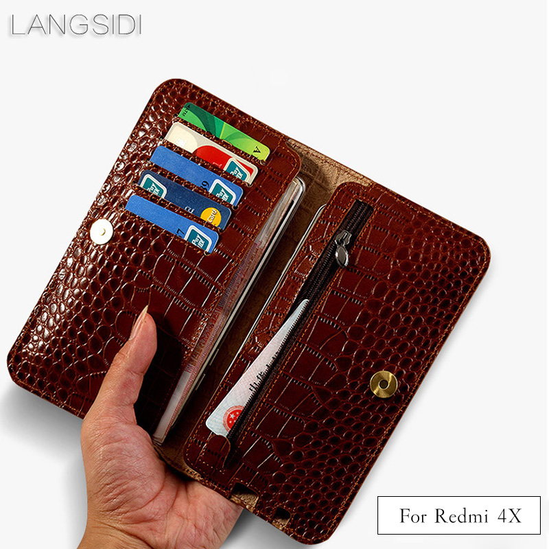 LANGSIDI brand genuine calf leather phone case crocodile texture flip multi-function phone bag for Xiaomi Redmi 4X hand-made