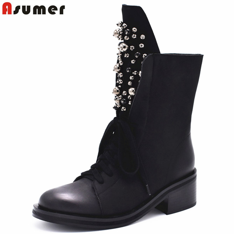 все цены на ASUMER 2018 hot sale new ankle boots for women round toe zip suede leather boots med heels autumn winer motorcycle boots rivet онлайн