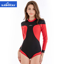 SABOLAY Long Sleeve Rash Guard Women One Piece Swimsuit Lycra Swimwear Swimming Surf Surfing Suit Scuba Diving Snorkeling Suits