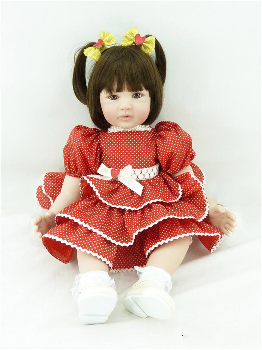 Pursue 24/60 cm Adorable Short Hair Soft Vinyl Silicone Reborn Toddler Girl Doll Toys for Children Girls Bedtime Birthday Gift pursue 24 60 cm new silicone vinyl reborn baby toddler doll toys for boy girl birthday christmas gift educational bedtime toys