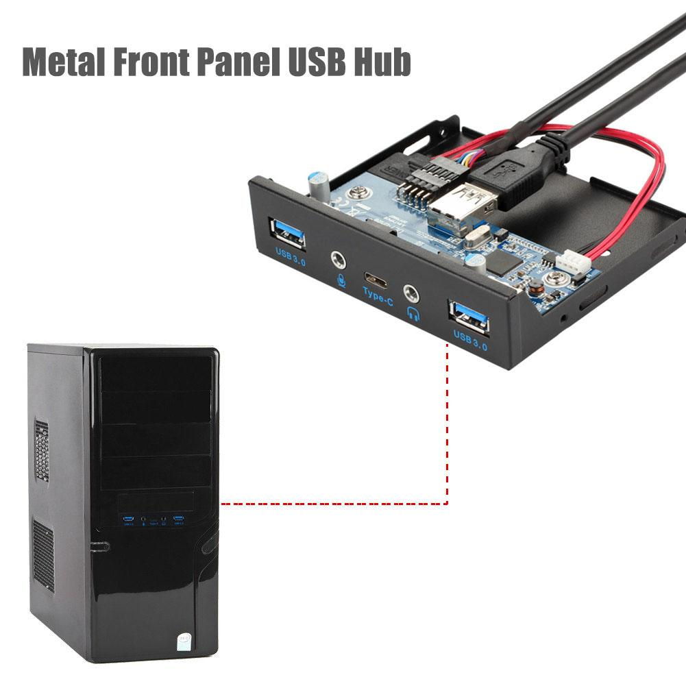 USB 3.1 Type-C Hub To HDMI Adapter Forward Reverse Audio 3.5 Inch Interface Front Panel Desktop Computer Front Panel USB Hub