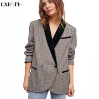LXMSTH Casual Plaid Women Blazers And Jackets Double Breasted Thin British Style Mujeres Blazers Y Chaquetas