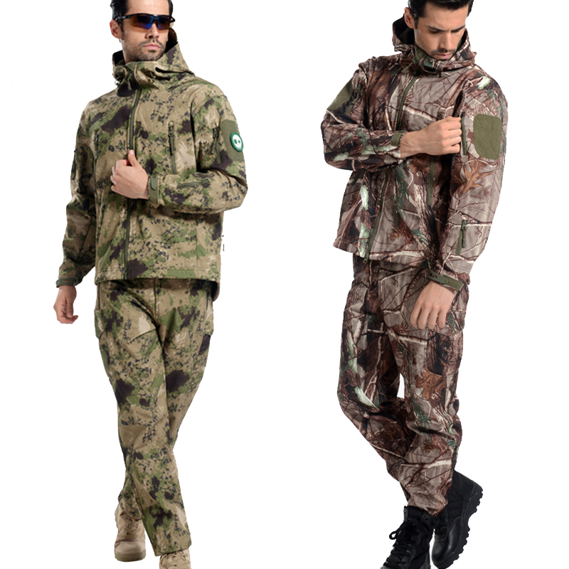 Tactical Soft Shell Camouflage Jacket Set Men Army Waterproof Warm Camo Clothes Military Fleece Coat Windbreaker Clothing Suit