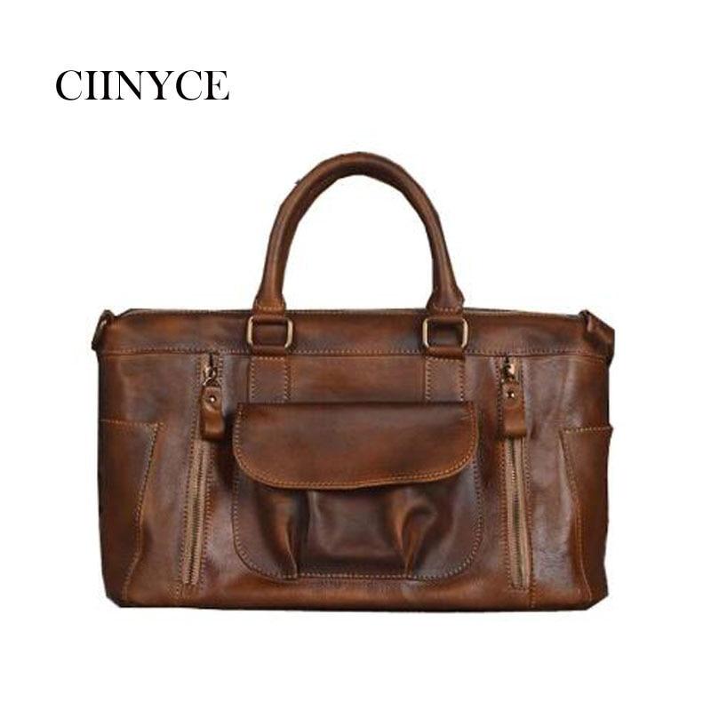Shoulder Messenger Bags Retro Genuine Leather Lady Female Fashion Women Vintage Style Hand Bag Laptop Designer Leather Handbag цена 2017