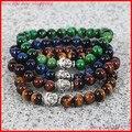Promoção 4 pçs/lote Mens frisada Buddha pulseira, 8 MM natural amarelo / vermelho / azul / verde pedra olho de tigre pulseira jóias