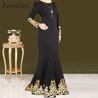Gold Stamping Print Muslim Dress Women Court Style Elegant Long Sleeve Dubai Abaya Dress Muslim Party Islam Prayer Maxi Dress