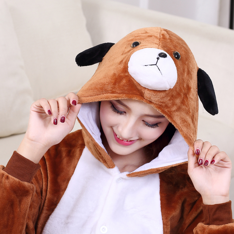 Cute Brown Dog Onesie Flannel One-Piece Pajamas Kigurumi Animal  Doggie Sleepwear Women And Men For Halloween Cosplay Party (7)