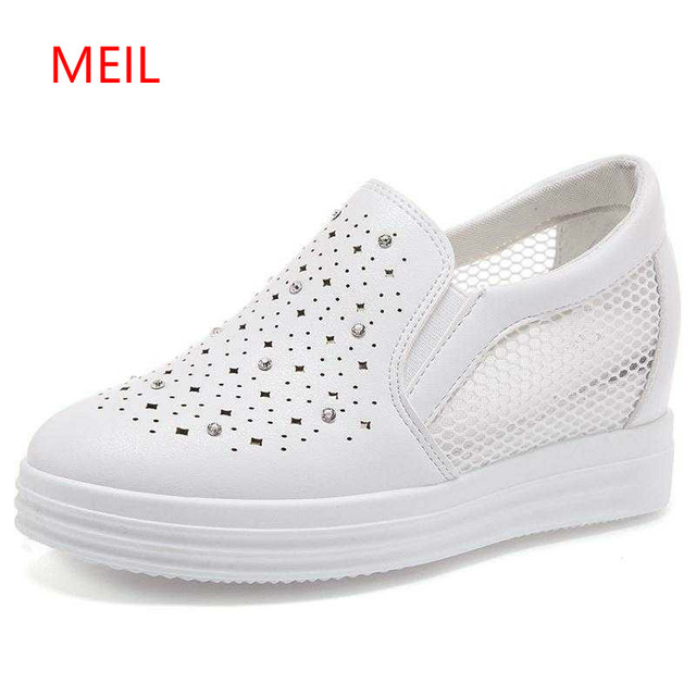 2018 Fashion Wedge Women Footwear Height Increasing Women Shoes Women's Casual Crystal Shoes Female Shoes Zapatillas Mujer