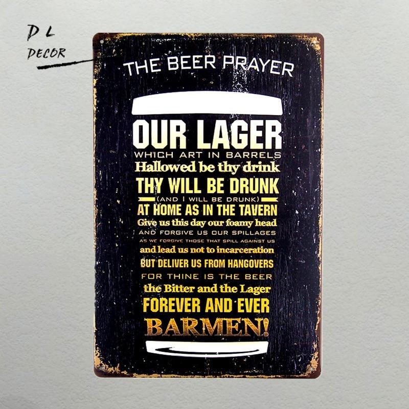 DL-La Birra Preghiera Metallo Dell'annata Targa in metallo Retro Bar Casa Pub Shop Decorazione Della Parete
