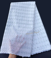 superb Snow White Swiss voile lace Soft eyelet embroidery African lace fabric Nigerian cotton garment cloth high quality 5 yards