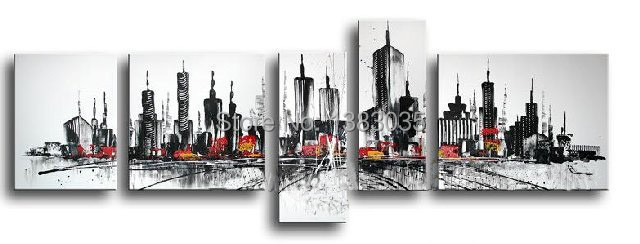 Hand painted abstract new york city landscapes canvas oil painting 5pcs home decoration modern wall art
