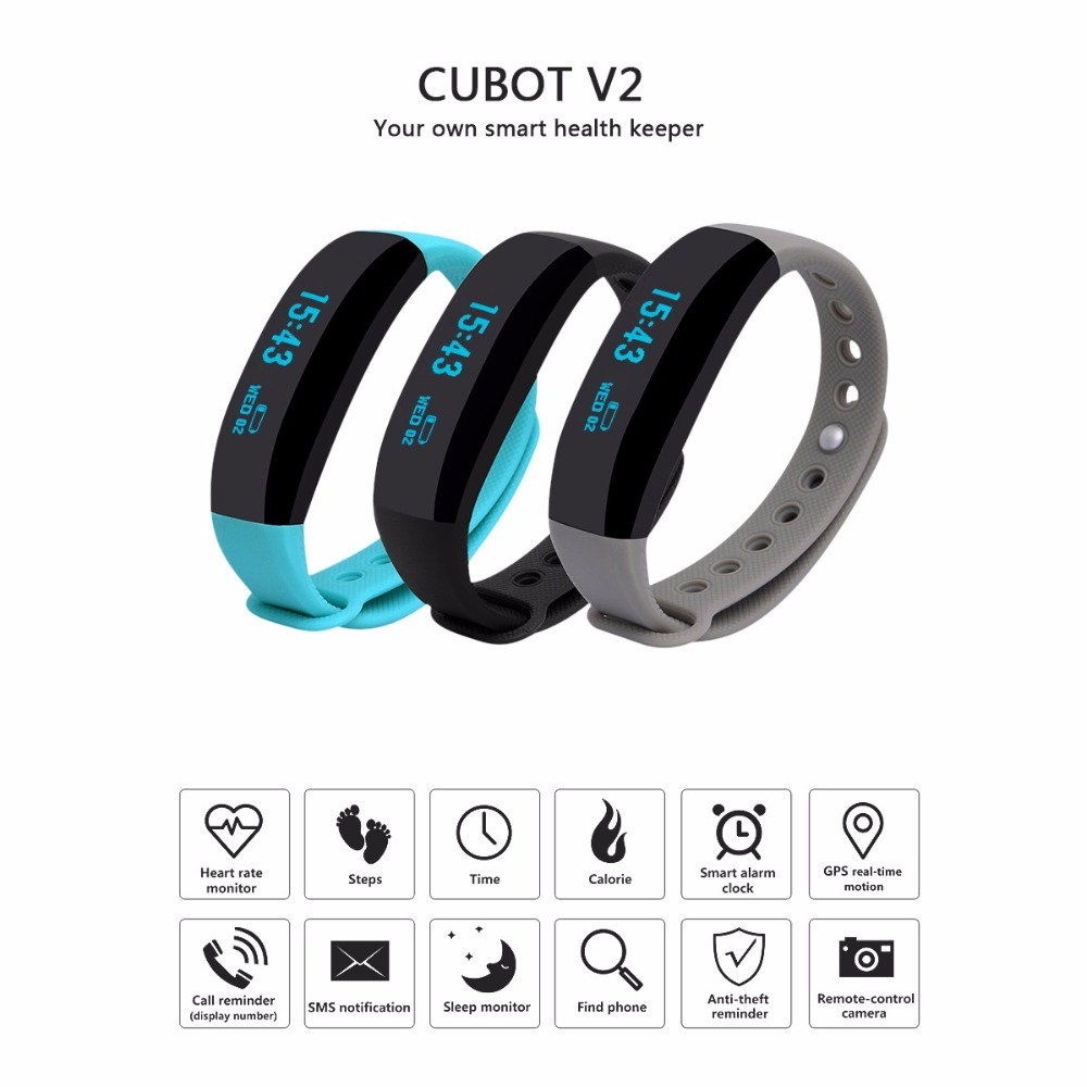 New V2 Heart Rate Bracelet Bluetooth Pedometer Calorie Sleep Monitor Call SMS Reminder Remote Photograph Cubot