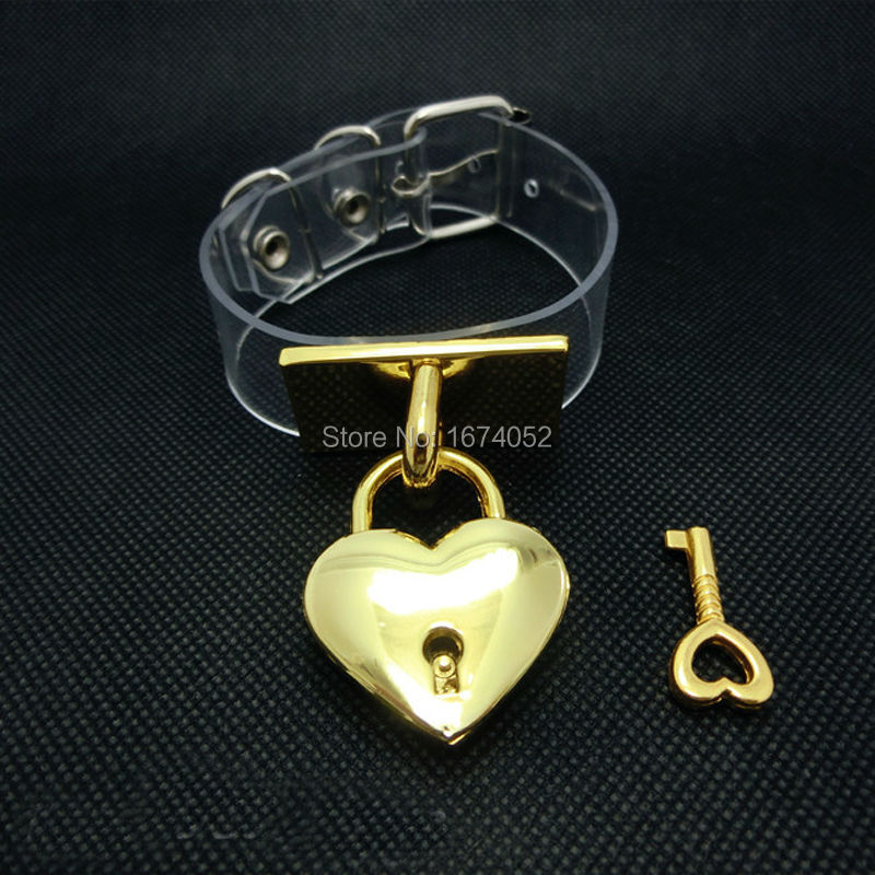 Fashion Jewelry Cosplay Girl Harajuku Handcrafted Gold Metal Lockable Key Hand Cuff Clear Vinyl Bracelet Handcuffs