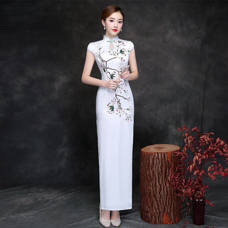 New Arrival Cheongsam Chinese Traditional Dress Female Qipao Short Sleeve Silk Satin Long Dress Chinese Style Women Party Dress chouchouchic winter children clothing girls dress party wear cotton short sleeve chinese style winter qipao red forest