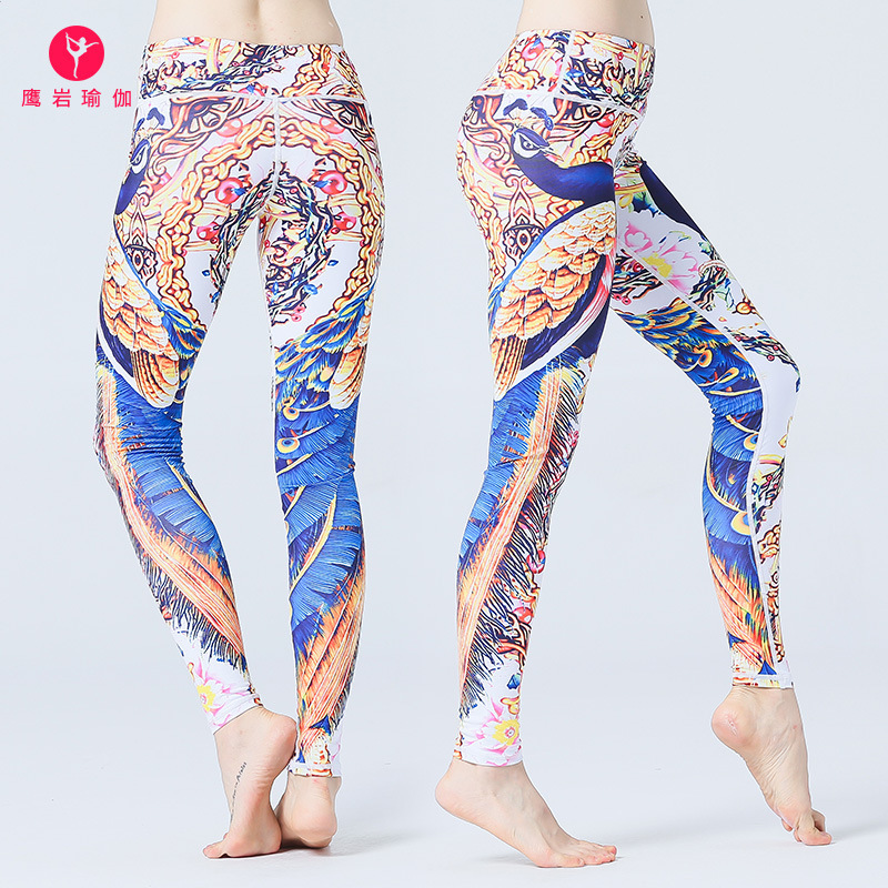 LULU Princess Four Needle Six Line Eagle Rock Printing Yoga Pants Ventilation Do Close Motion Woman Bodybuilding Dance Trousers