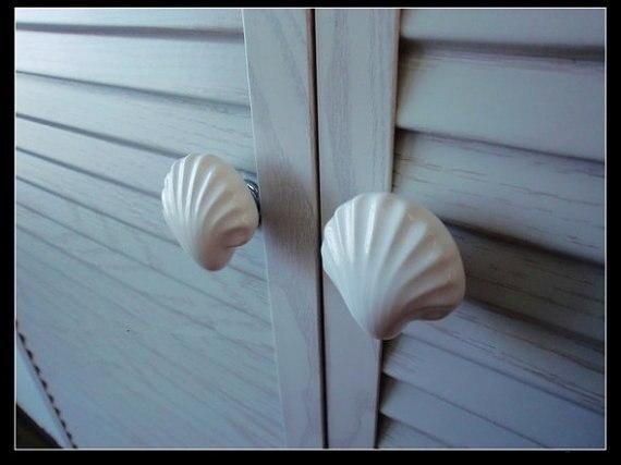 Large Drawer Knobs Shell White Ceramic / Nautical Kitchen Furniture Cabinet  Drawer Pulls Handles Hardware Porcelain