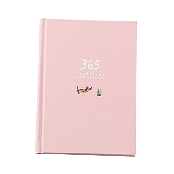 Creative Year Plan Notebook 365 Days Inner Page Monthly Daily Planner Diary Notebook, Pink 140 page note paper creative fruit design