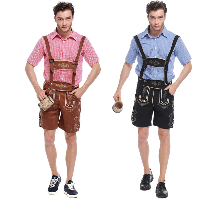 German Traditional Oktoberfest Beer Man Costume Cotton Dress Male Carnival Bavarian Octoberfest Cosplay Fancy Party Dress Outfit