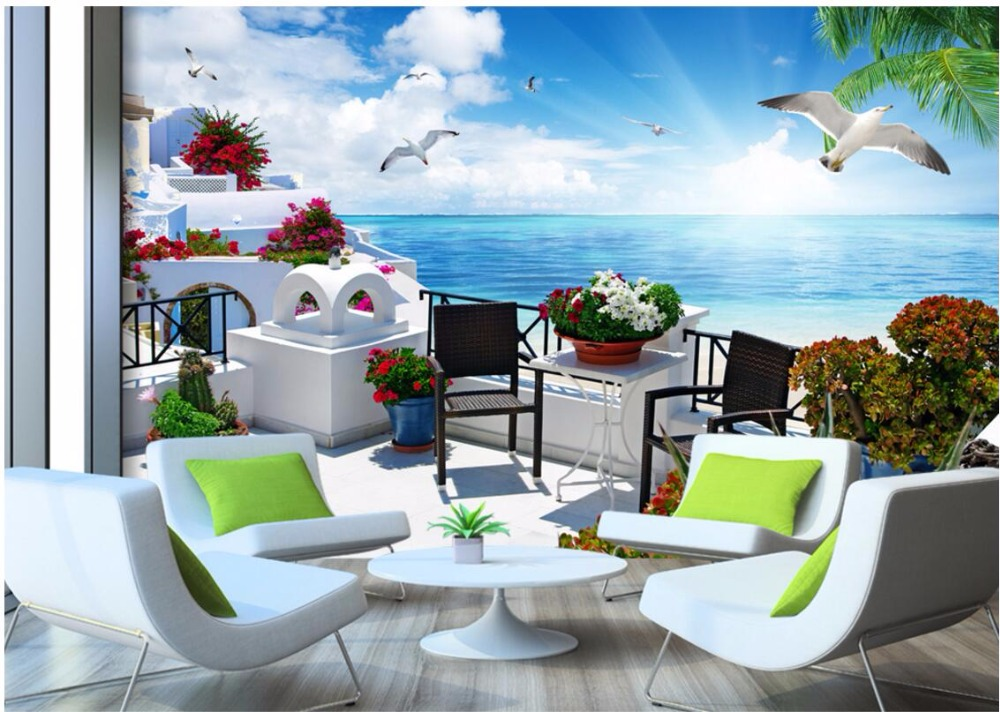 Custom mural 3d room wallpaper Landscape The Greek Aegean sea wall papers home decor 3d wall murals wallpaper for walls 3 d custom mural 3d wallpaper rainforest flowers plant leaves living room home decor painting 3d wall murals wallpaper for walls 3 d