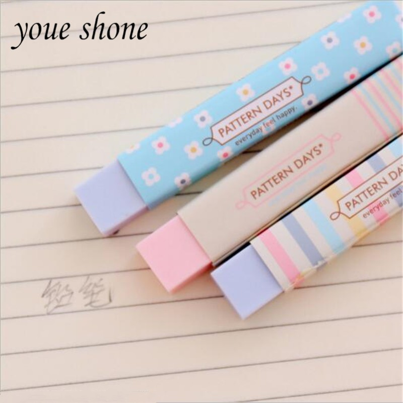 1pieces/lot Lovely Fragrant Rubber Rainbow Control Strip Student Special Rubber Colored Eraser Stationery Wholesale Student Supp