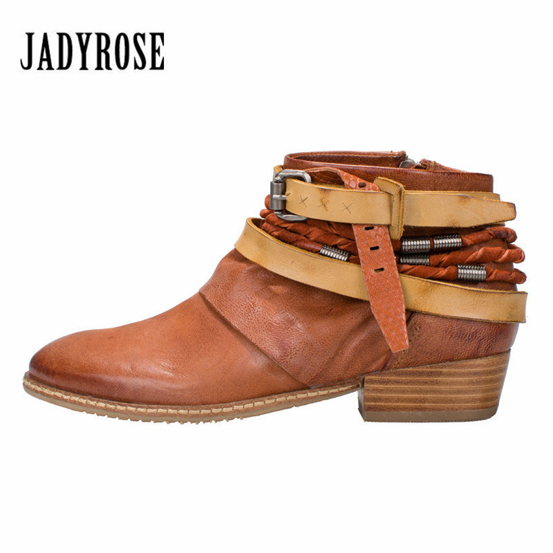 Jady Rose 2018 New Brown Ethnic Women Genuine Leather Ankle Boots Straps Autumn Short Booties Casual Flat Shoes Woman Flats 2017 brand new women short designer boots flat dress shoes woman gladiator big size cool rain booties outwear casual shoes