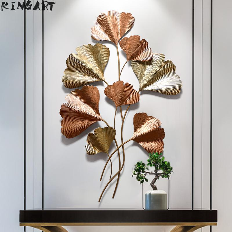 Large Living Room Wall Art Wall Porch Big Metal Wall Decoration Iron Hanging Wall Picture Modern Creative Leaf 3D Picture Frame