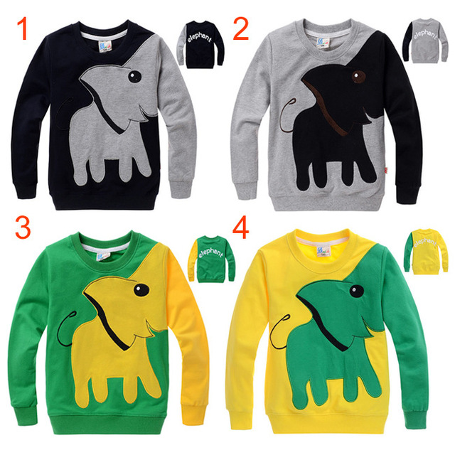 Boys and Girls Autumn Winter Kids Elephant Cartoon Long Sleeved T-shirt Cotton Sweater Four Colour Children Clothes