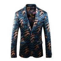 Velvet Blazer Men 2018 Slim Fit Mens Leopard Print Blazer Classic Green Casual Suit Jacket Man Party Prom Wear