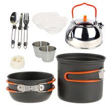 VILEAD Outdoor Camping Pot Set 1-2 People Walking Teapot Hiking Picnic Stainless Steel Tableware Tourism Coffee